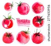 set tomatoes drawn akvraelyu mr.... | Shutterstock . vector #277653956