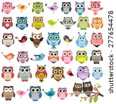 Stock vector set of color cartoon owls and birds 277654478