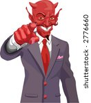 Devil pointing.  The devil wants you! Is the corporate world asking you to sell out or just the tax man wanting his due?  No meshes used - stock vector
