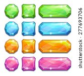 set of cartoon colorful crystal ...