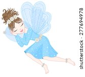 cute fairy in blue dress with... | Shutterstock .eps vector #277694978