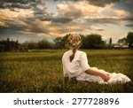 young girl wearing a white... | Shutterstock . vector #277728896