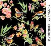 watercolor wild exotic birds on ... | Shutterstock .eps vector #277753742
