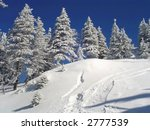 Winter landscape near the slope. - stock photo
