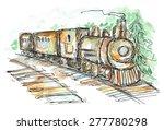 Train Watercolor And Ink Sketc...
