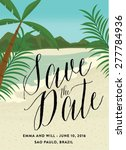 save the date with beach scene | Shutterstock .eps vector #277784936