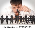 the boss looks at a group of... | Shutterstock . vector #277785275