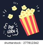 flat yellow popcorn on black... | Shutterstock .eps vector #277812362