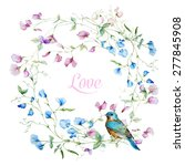 vector watercolor wreath with... | Shutterstock .eps vector #277845908