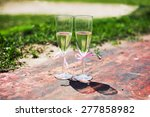 wedding glasses with pink... | Shutterstock . vector #277858982