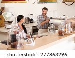 happy young cafe workers | Shutterstock . vector #277863296