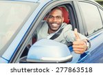Car. Man Driver Happy Smiling...