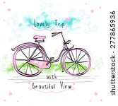 love bicycle child drawing... | Shutterstock .eps vector #277865936