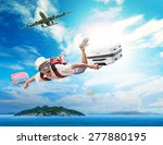 young man flying from passenger ... | Shutterstock . vector #277880195