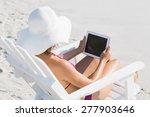 pretty brunette in swimsuit at... | Shutterstock . vector #277903646