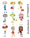 cartoon fashionable girls  | Shutterstock .eps vector #277904075