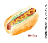 watercolor tasty hotdog in... | Shutterstock .eps vector #277915976
