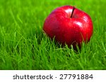 Close Up Of Red Apple In Grass