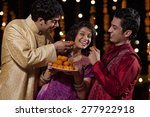 two men tempting woman to eat... | Shutterstock . vector #277922918