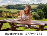 young attractive woman  reading ... | Shutterstock . vector #277944176