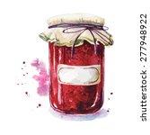 fruit jam with a sticker. mason ... | Shutterstock .eps vector #277948922