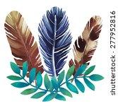 watercolor boho bouquet ... | Shutterstock .eps vector #277952816