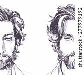 hair. beard. beautiful brunette ... | Shutterstock .eps vector #277979192