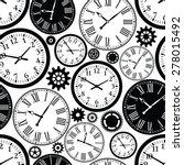 Clock S Seamless Pattern. Blac...