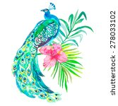 peacock. tropical plants ... | Shutterstock .eps vector #278033102