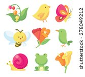 Stock vector a vector illustration icon set of nine cute spring related images like insects to flowers 278049212