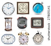 clocks  hourglass  compass and...   Shutterstock .eps vector #27805141