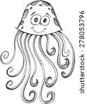doodle sketch jelly fish vector ... | Shutterstock .eps vector #278053796