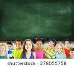multi ethnic group of children... | Shutterstock . vector #278055758