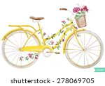Stock vector watercolor illustration of a yellow bicycle with flowers hydrangea 278069705