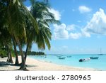 tropical beach with boats in bay   Shutterstock . vector #2780965