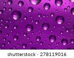Purple Water Drops On Glass...