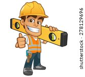 friendly builder with helmet ... | Shutterstock .eps vector #278129696