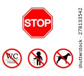 stop sign. set  toilet  smoking ... | Shutterstock .eps vector #278133542