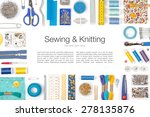 sewing and knitting on white... | Shutterstock . vector #278135876