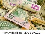 cash dollars lying on the plane. | Shutterstock . vector #278139128