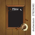 cafe menu board with cup of... | Shutterstock .eps vector #278236382