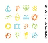 set of summer themed icons | Shutterstock .eps vector #278255285