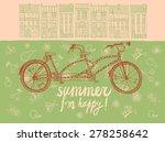 stylish hand drawn tandem bike... | Shutterstock .eps vector #278258642