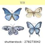 Set Of Watercolor Butterflies....