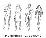 fashion girl set vector sketch... | Shutterstock .eps vector #278330042