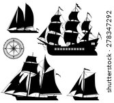 yacht and old pirate ships  ...   Shutterstock .eps vector #278347292