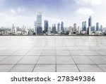 empty floor with modern skyline ... | Shutterstock . vector #278349386