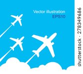 plane fly on blue cloud sky... | Shutterstock .eps vector #278349686