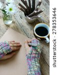 women hand wear wool gloves in... | Shutterstock . vector #278353646