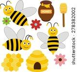 bee design set | Shutterstock .eps vector #278382002
